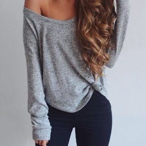Grey Off The Shoulder Top  XS Hollister